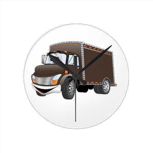 Dibujo animado del chocolate del camión de reparto relojes de pared