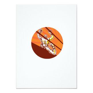 Dibujo animado del círculo del boxeador que gana invitación 11,4 x 15,8 cm