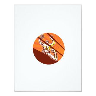 Dibujo animado del círculo del boxeador que gana invitación 10,8 x 13,9 cm