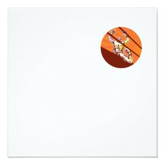 Dibujo animado del círculo del boxeador que gana invitación 13,3 cm x 13,3cm