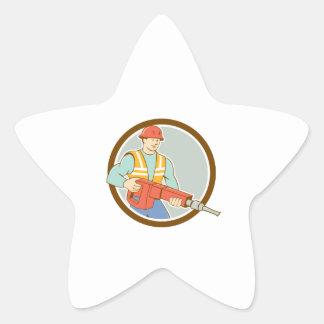 Dibujo animado del círculo del martillo perforador pegatina en forma de estrella