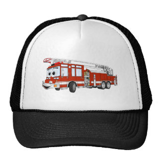 Dibujo animado del coche de bomberos de gancho y d gorros bordados