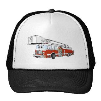 Dibujo animado del coche de bomberos de gancho y d gorras de camionero