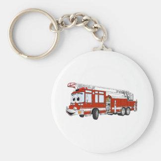 Dibujo animado del coche de bomberos de gancho y d llavero redondo tipo pin