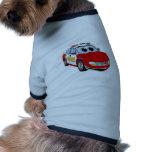 Dibujo animado del coche del cuerpo de bomberos camisa de mascota