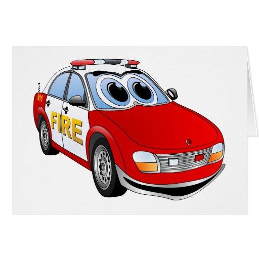 Dibujo animado del coche del cuerpo de bomberos felicitación