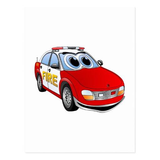 Dibujo animado del coche del cuerpo de bomberos postal