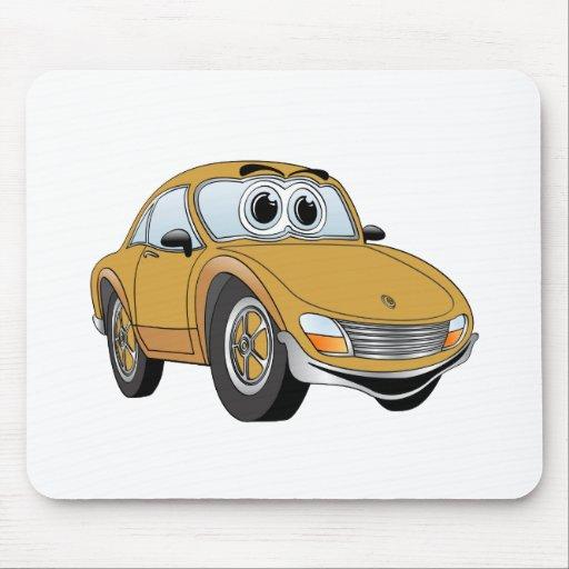 Dibujo animado del coche deportivo del oro tapete de ratones