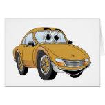 Dibujo animado del coche deportivo del oro felicitaciones
