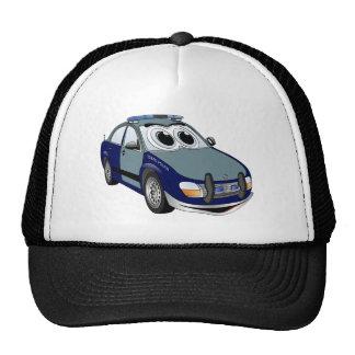 Dibujo animado del coche policía del verde azul gorras de camionero