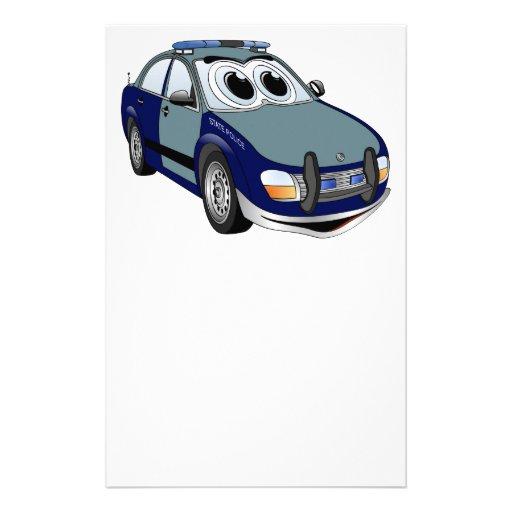 Dibujo animado del coche policía del verde azul papelería personalizada