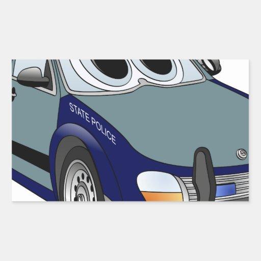 Dibujo animado del coche policía del verde azul rectangular pegatinas