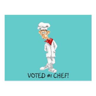 Dibujo animado del cocinero con refranes divertido tarjeta postal