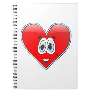 Dibujo animado del corazón libro de apuntes con espiral