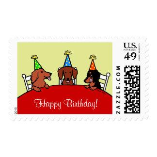 Dibujo animado del cumpleaños del Dachshund Estampilla