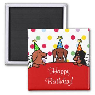 Dibujo animado del cumpleaños del Dachshund Imán Cuadrado