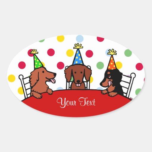 Dibujo animado del cumpleaños del Dachshund Calcomania De Ovaladas