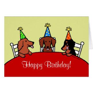 Dibujo animado del cumpleaños del Dachshund Tarjeta De Felicitación