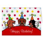 Dibujo animado del cumpleaños del Dachshund Felicitacion