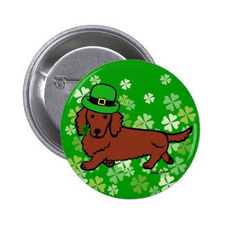 Dibujo animado del Dachshund del día de St Patrick Pin