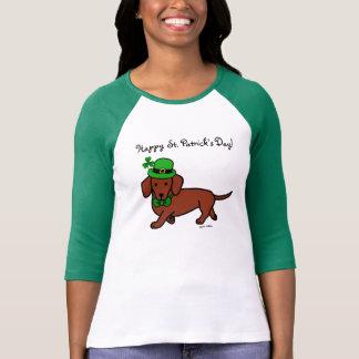 Dibujo animado del Dachshund del día de St Patrick Camiseta