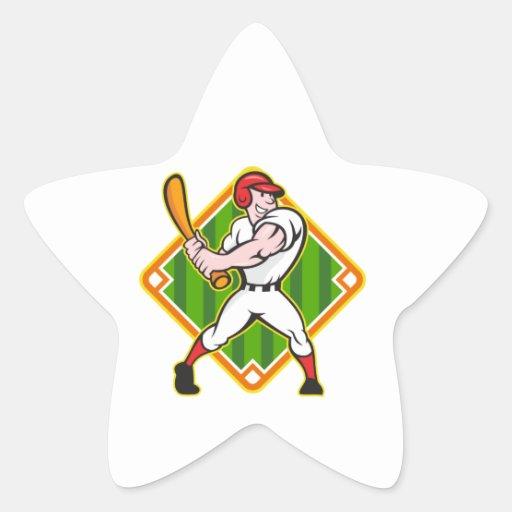 Dibujo animado del diamante del bateo del jugador pegatina en forma de estrella