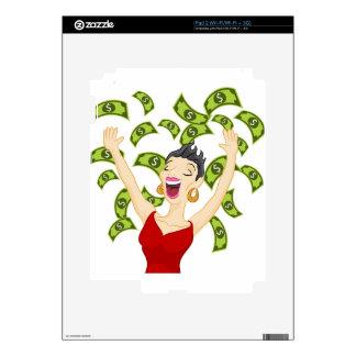 Dibujo animado del dinero del chica que gana iPad 2 calcomanías