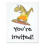 dibujo animado del dinosaurio de la persona que invitación 10,8 x 13,9 cm