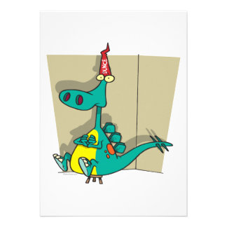 Dibujo animado del dinosaurio del tonto de Dumbosa Invitacion Personalizada