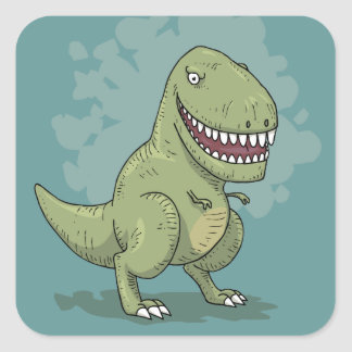 Dibujo animado del dinosaurio T Rex Pegatina Cuadrada