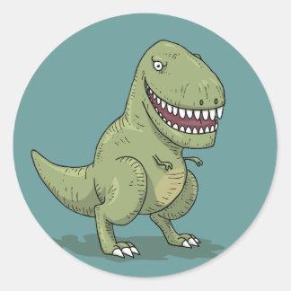 Dibujo animado del dinosaurio T Rex Pegatina Redonda