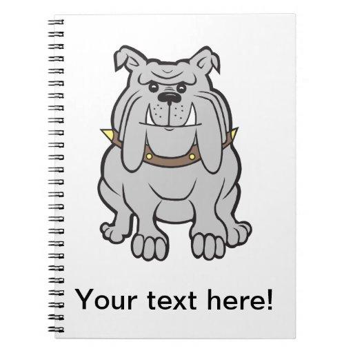 Dibujo animado del dogo libros de apuntes con espiral