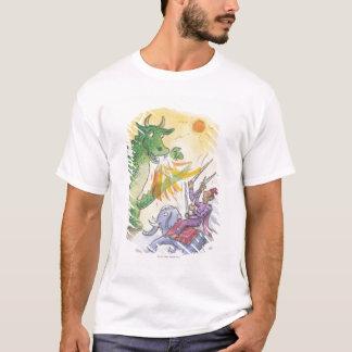 Dibujo animado del dragón de respiración del fuego playera