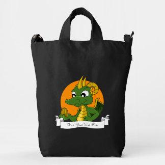 Dibujo animado del dragón verde bolsa de lona duck