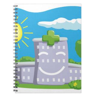 Dibujo animado del edificio divertido del hospital libro de apuntes