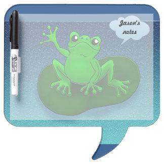 Dibujo animado del ejemplo de la rana en una hoja tablero blanco