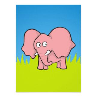 """Dibujo animado del elefante rosado invitación 6.5"""" x 8.75"""""""
