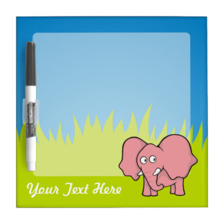 Dibujo animado del elefante rosado tablero blanco