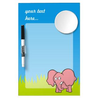 Dibujo animado del elefante rosado tableros blancos