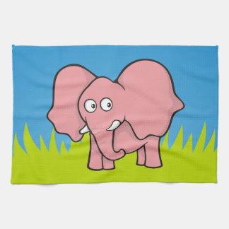 Dibujo animado del elefante rosado toalla de cocina