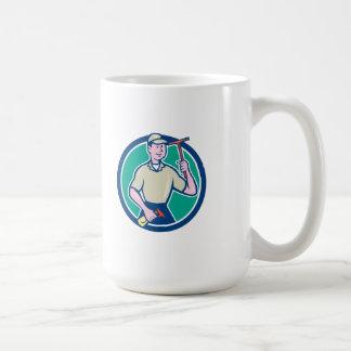 Dibujo animado del enjugador del limpiador de la taza básica blanca