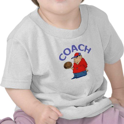 Dibujo animado del entrenador de béisbol camiseta