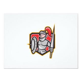 Dibujo animado del escudo de la lanza del escudo invitación 16,5 x 22,2 cm
