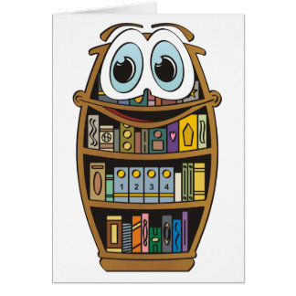 Dibujo animado del estante para libros felicitaciones