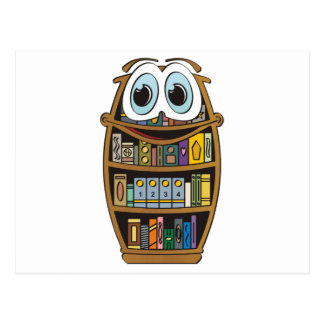 Dibujo animado del estante para libros tarjetas postales