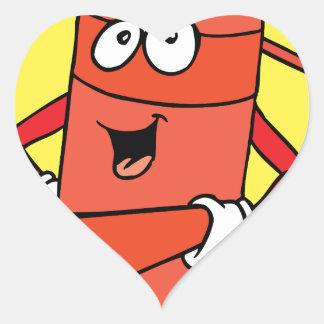 Dibujo animado del extintor pegatina en forma de corazón