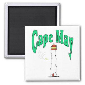Dibujo animado del faro de Cape May Imán Cuadrado