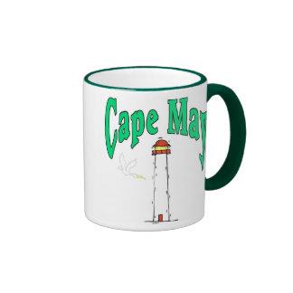 Dibujo animado del faro de Cape May Taza De Dos Colores
