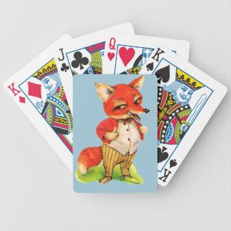 Dibujo animado del Fox del vintage listo Baraja Cartas De Poker