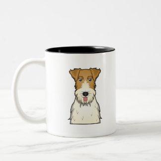 Dibujo animado del fox terrier del alambre taza de dos tonos
